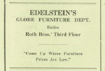 ... Edelsteinu0027s Furniture And China Store And Edelsteinu0027s Furniture And  Gift Shop. (See Edelstein Family Tree.) The Ads Shown Below Were Published  In The ...