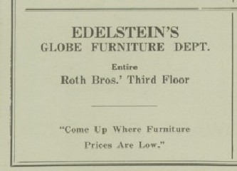Nice ... Edelsteinu0027s Furniture And China Store And Edelsteinu0027s Furniture And  Gift Shop. (See Edelstein Family Tree.) The Ads Shown Below Were Published  In The ...